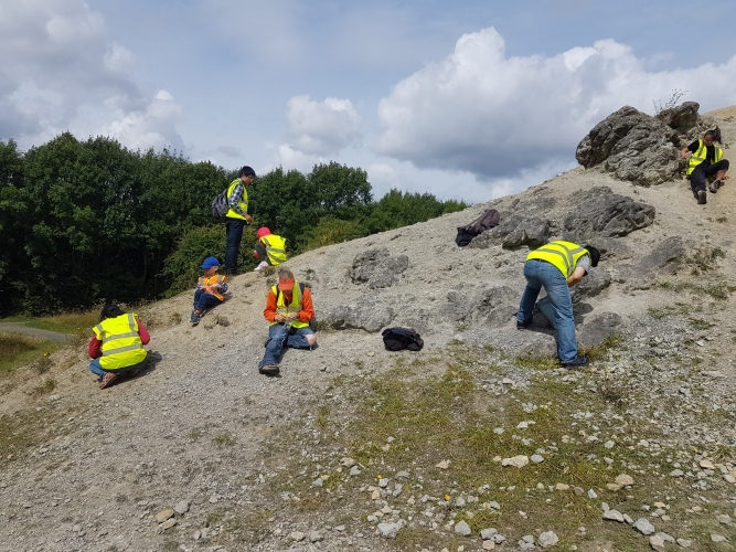 Looking for fossils in the old quarry